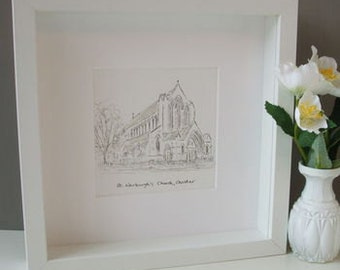 Personalised Wedding Church Painting