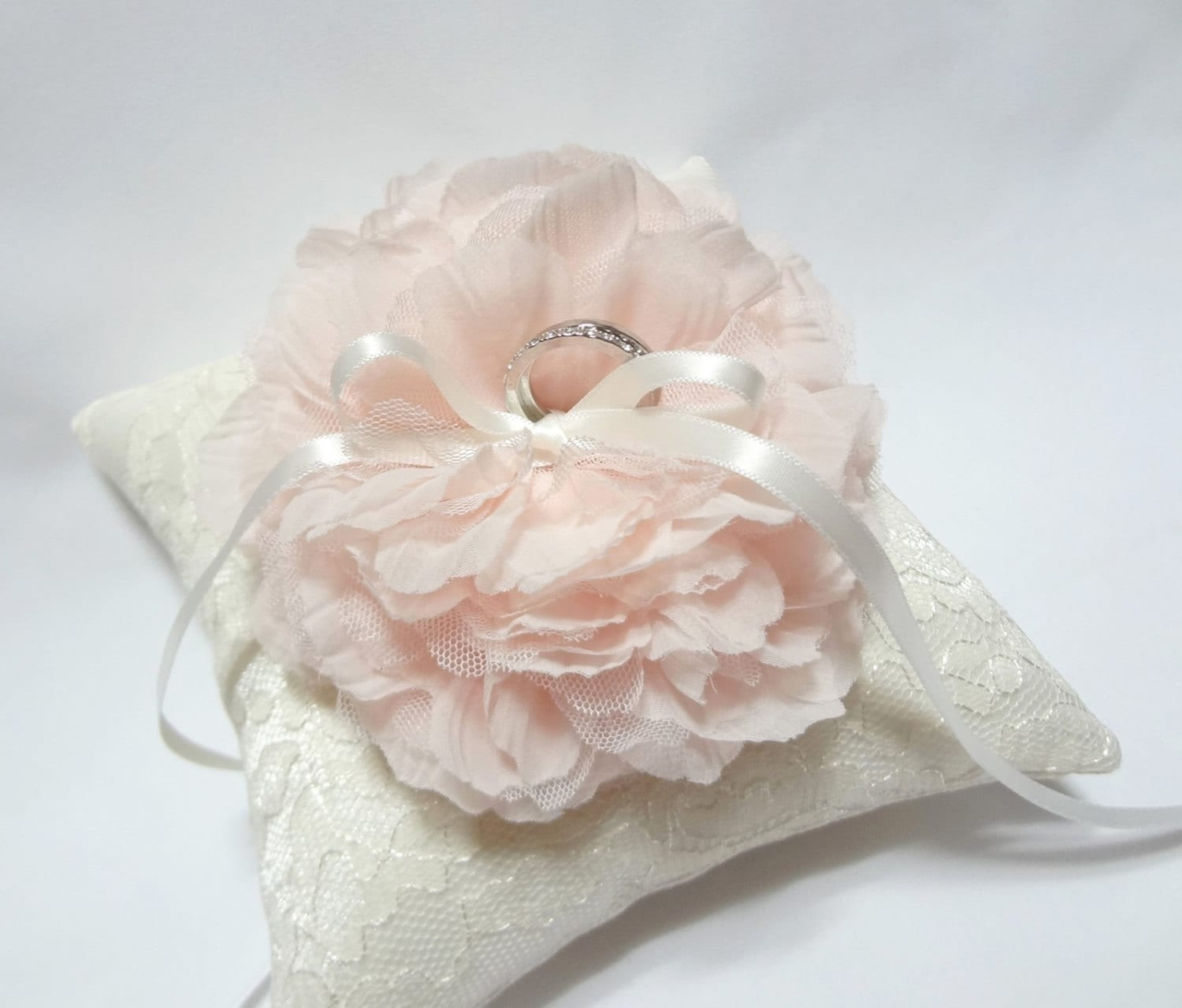 Blush ring pillow wedding ring pillow ivory lace ring
