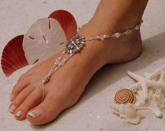 Barefoot Sandal -Simply Elegant  White Pearls and Silver Beads Crystal Flower with rhinestones Destination Wedding, Bridal Beach Shoe, Beach