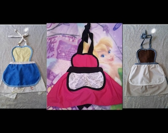 Princess Fairytale Themed Aprons - Youth Girls Children Toddler - Size XS 3/4 - Cinderella Sleeping Beauty Belle Beauty and the Beast