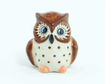Miniature Ceramic Brown Owl Animal - Porcelain Animal Figurine - Ceramic Animal
