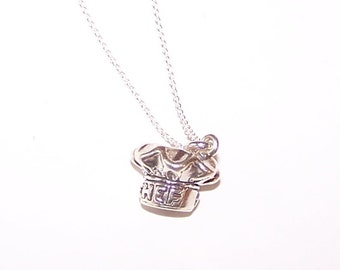 Sterling 3D CHEF'S HAT Pendant AND Chain - Cooking, Cook, Restaurant, Profession