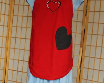 Reversible Heart Apron with Heart Shaped Pocket