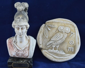 Athena bust Goddess of Wisdom and Strategy plus owl relief sculpture artifact