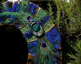 "SALE - Artistic Leather Mirror - Title: ""Mystic Peacock Mirror"""