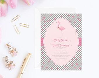 flamingo baby shower invitation, pink flamingo baby shower, flamingo shower, pink flamingo invite, bridal shower invitation printable