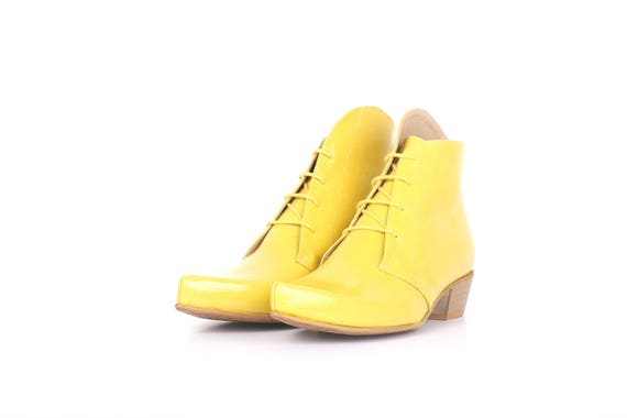 c775f83ae760 ... yellow free Booties patent Boots shipping womens Womens shoes chunky  Leather up lace Pointy handmade adikilav ...