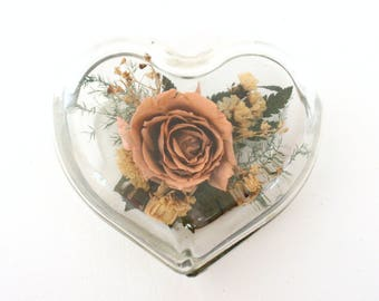 Vintage Freeze Dried Rose Display in Clear Glass Heart Shaped Box by Natural Expressions