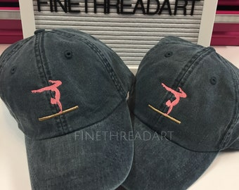 ADULT or Ladies Size Gymnast Balance Beam Mini Design Baseball Cap Hat Leather Strap Gymnastics Tumbling Dance Cheer