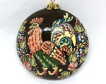 Rooster Hand Painted Christmas Ornament