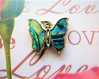 Butterfly charm mother of Pearl abalone, haliotis and metal