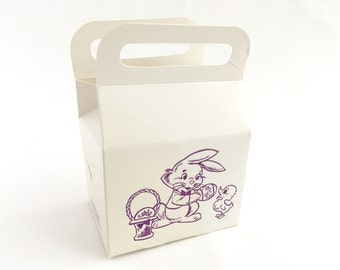 Vintage Easter Boxes Bunny Duckling Cardboard Purple Graphics 1960s Gift Candy Boxes Set of 5