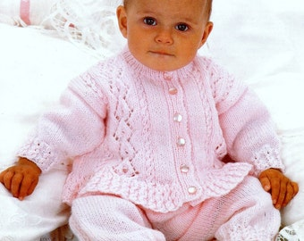 Baby DK  8ply Worsted Frilled Cardigan and Trousers   16-22 ins - PDF of Vintage Knitting Patterns Instant Download