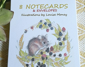 Mouse notecards. Squirrel notecards. Multi pack of cards, two designs. Eight cards. Squirrel card. Harvest mouse card. Wildlife gift
