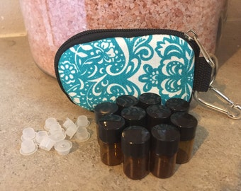 CLASSY TEAL Essential oils KEYCHAIN Case with 10 sample bottles--Trendy