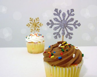 Snowflake Cupcake Toppers 12CT, Winter Wonderland Party Decorations, Silver or Gold Snowflake Toppers - No378