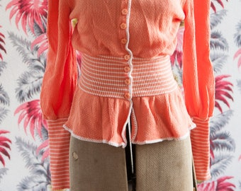 Vintage Sweater - Orange Peach Knit Stripes 70s