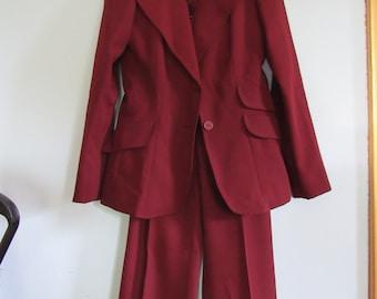 Vintage Women's Happy Legs Brand Burgundy 3-Piece Suit
