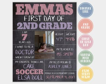 First Day of School Sign, Back To School Sign, 1st Day of School, Last Day Of School, Digital Chalk Board Sign, Printable Sign, Digital File