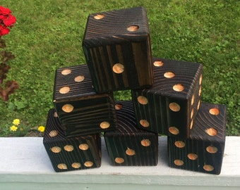 Lawn Yard Dice Set of 6 handmade wood Black Ebony - Farkle Yatzee Yardzee
