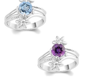 Sterling Silver Aquamarine or Amethyst Solitaire Flower Ring