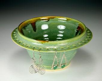 Earring Bowl  Earring Tree Green Glaze