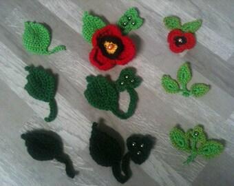 2 cm - green leaf crochet - artificial leaf - pattern and size choice/green crocheted leaf /artificial leaf