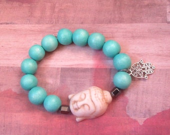 Large Beige Buddha Beaded Stretch Bracelet with Aqua Wood Beads and Hamsa Charm
