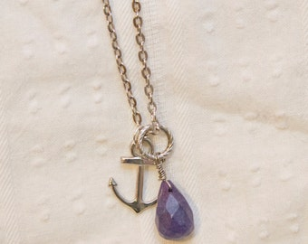 Amethyst necklace, anchor jewelry, Anchor necklace, February birthstone, boho necklace, nautical jewelry, anchor charm,gift for mom, stone