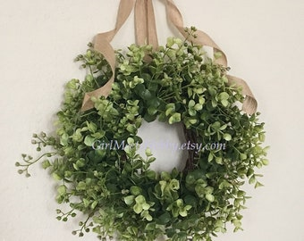 Mini Boxwood Wreath.  Small Eucalyptus Wreath.  Mini Farmhouse Wreath.