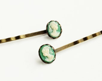 Green Cameo Hair Pins Victorian Cameo Hair Pins Vintage Cameo Bobby Pins Small Hairpins Victorian Accessories