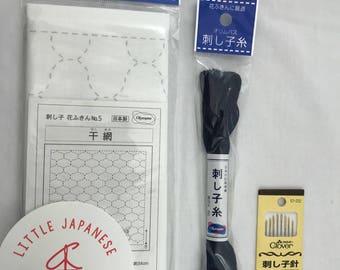 Sashiko Kit, Japanese Embroidery Kit, Sashiko Fabric, Sashiko Stencils, Sashiko Threads, Needlework Kit, Sashiko Embroidery
