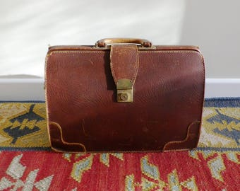 1950s  oxblood brown leather briefcase or attache case vintage leather luggage