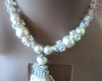 Beads with pendant set..bling, also earrings to match