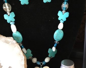 Turquoise butterfly necklace and earrings