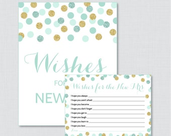 Wishes for the New Mrs Mint and Gold Bridal Shower Wishes for the Bride to Be - Printable Mint and Gold Bridal Shower Wishes Cards - 0001-M