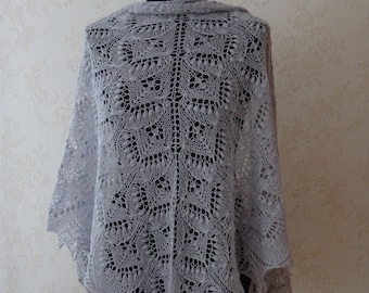 FREE SHIPPING Hand knitted light grey,  lace shawl, Queen Silvia lace, Estonian lace, Ready to ship