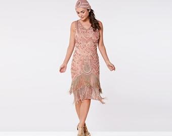 Plus Size US20 UK24 AUS24 EU52 Hollywood Rose Gold Flapper Fringe Dress with Slip 20s Great Gatsby Art Deco Bridesmaid Wedding Bridal Jazz