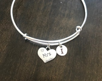 MRS Initial Bracelet, MRS jewelry,gift for your wife , EA26