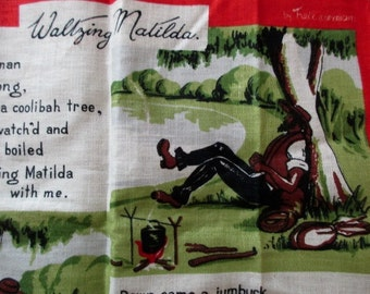 Vintage linen DISH TOWEL-Souvenir of Australia-Waltzing Matilda