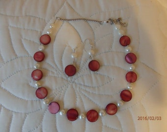 flat glass pink and fresh water pearls