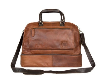 Large Leather Holdall With Under Compartment - Leather Overnight Bag - Weekender *Personalised* in Vintage Brown by MAHI Leather