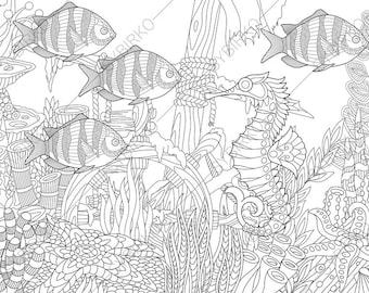 Ocean World. Tropical fishes. Seahorse. 2 Coloring Pages. Animal coloring book pages for Adults. Instant Download Print