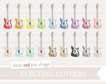 Electric Guitar Clipart, Instrument Clip Art, Music Clipart, Musical Clipart, Rock Band Cute Digital Graphic Design Small Commercial Use