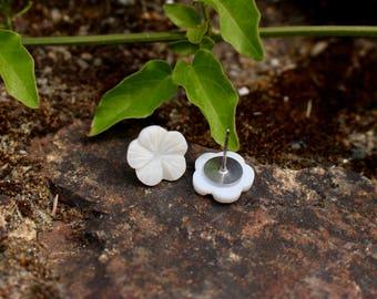 Hawaiian Shell Earrings   Tropical Earrings   Hypoallergenic Studs   Titanium Studs   Shell Earrings  Hawaiian Earrings   Island Earrings