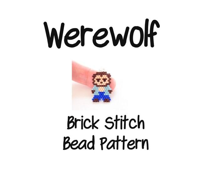 Halloween Beading PATTERN, Brick Stitch Bead Weaving, JPG Download ~ Werewolf Charm, Pendant, Earrings