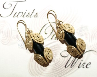 Solid Brass & Black Onyx Swirl Dangle Earrings Handcrafted Metalwork
