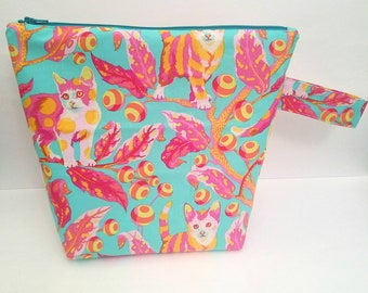Kitty Project Bag, Knitting Project Bag, Large Project Bag, Project Bag for Knitting, Cat Project Bag, Project Bag for Crochet
