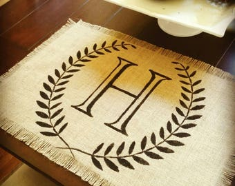 Handpainted Monogrammed Placemats on Jute (Set of 4)