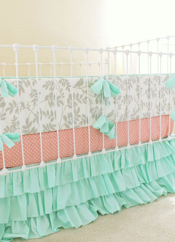 Mint And Gray Crib Bedding Baby Girl Nursery Peach And Mint